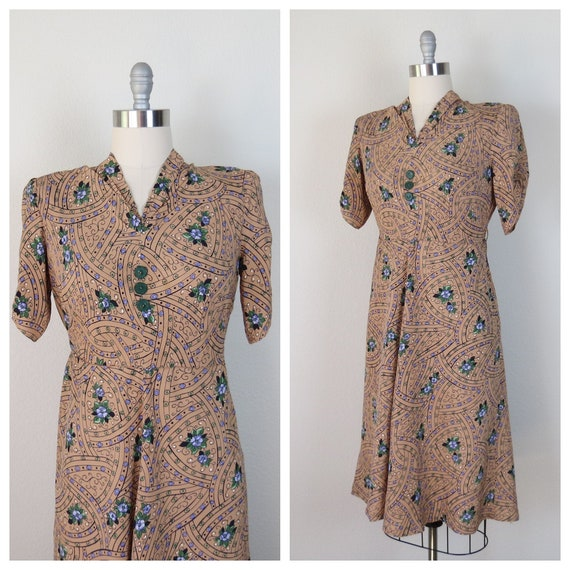 40s 1940s vintage cold rayon floral dress size lar