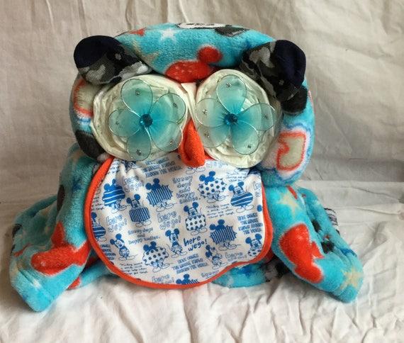 Blue Fleece Owl Diaper Cake Baby Shower gift