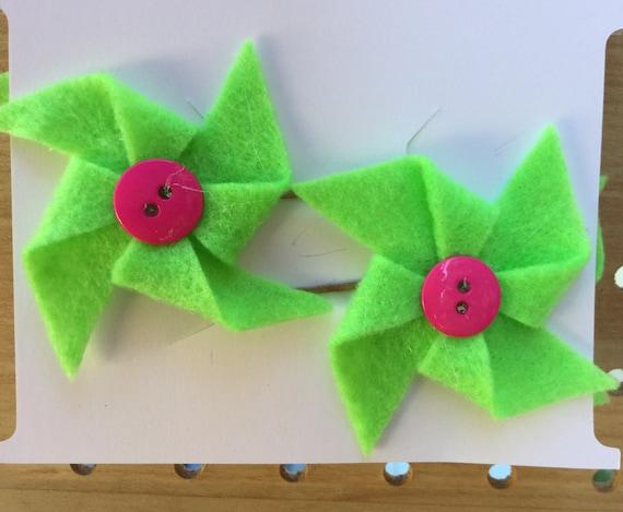 Green and Pink Pinwheel Hair Pins