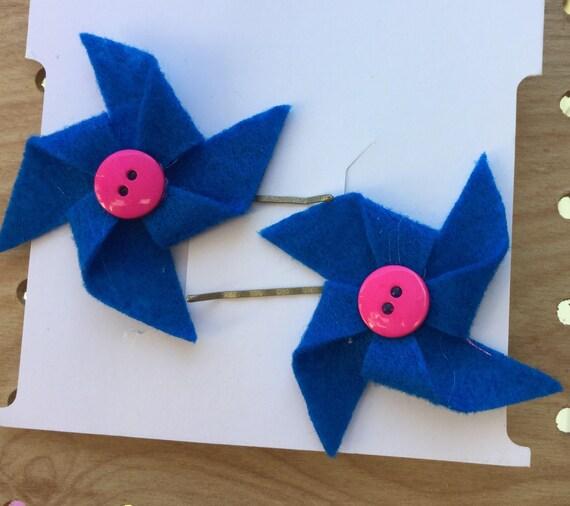 Blue and Pink Pinwheel Hair Pins