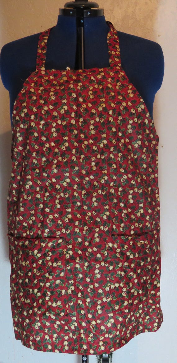 christmas Holiday Red Jingle Bell Full Apron