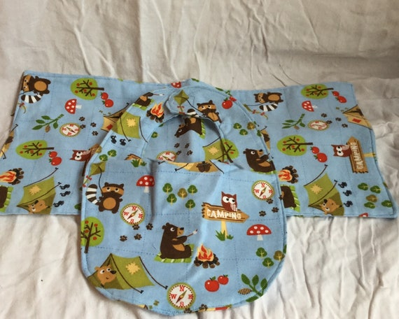 Animal Friends Camping Burb Cloth and Bib Set Baby Shower Gift