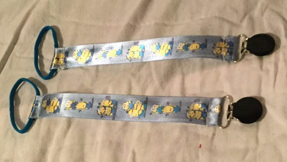 Blue Minion Ribbon Pacifier Clip