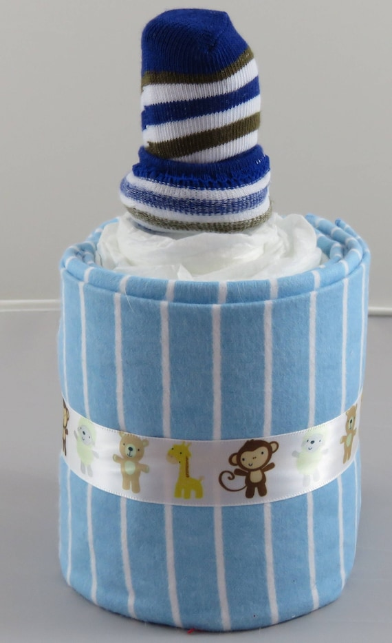 Blue and White Striped Diaper Baby Bottle. baby Shower Gift