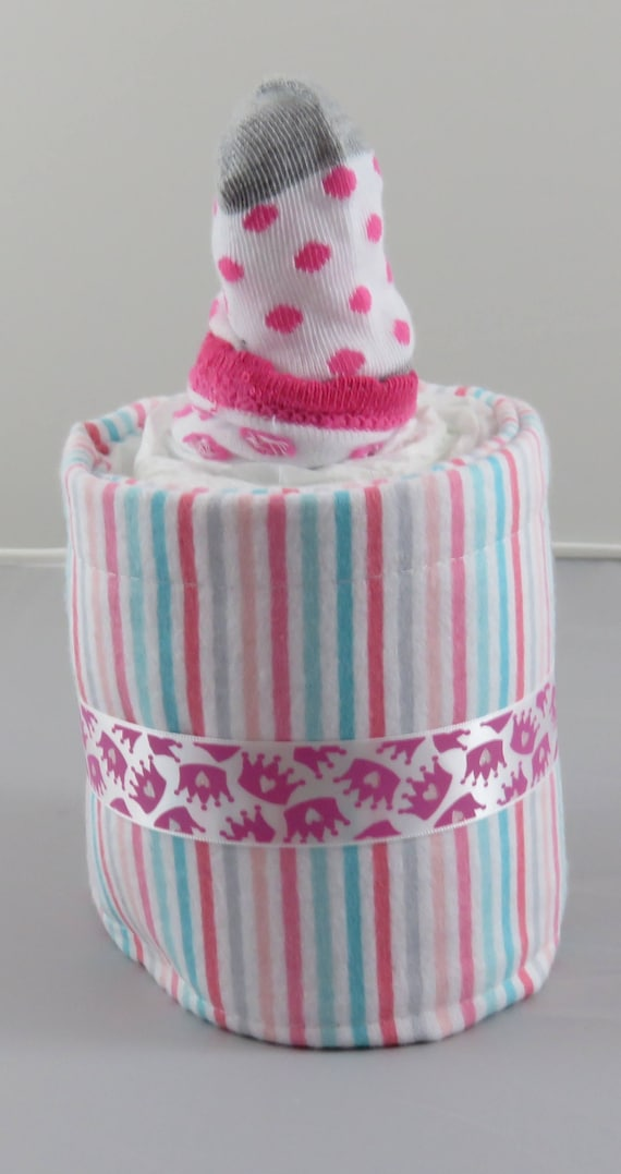 Pink and Blue Striped Diaper Bottle Baby Shower Gift