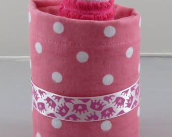 Pink with White Polka Dot Diaper Bottle. baby Shower Gift