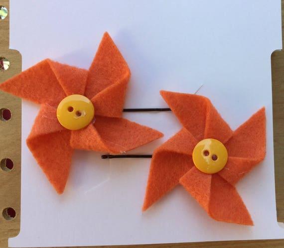 Orange Pinwheel Hair Pins