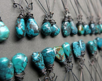 Genuine Turquoise Earrings - Long Turquoise Earrings - Turquoise Drop Earrings - Long Boho Earrings - Natural Turquoise Jewelry - Hippie