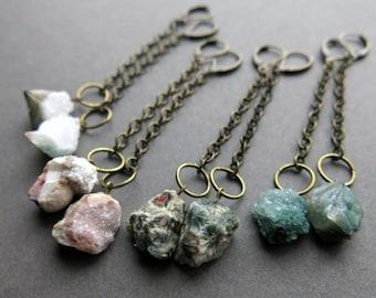 Raw Stone Earrings - Boho Earrings - Raw Crystal Earrings - Raw Stone Jewelry - Raw Gemstone Earrings - Tribal Bohemian Crystal Jewelry