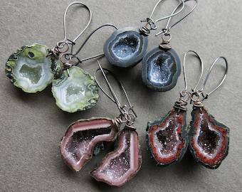 Tabasco Geode Earrings - Raw Stone Earrings - Druzy Boho Earrings - Raw Crystal Earrings - Raw Gemstone Earrings - Stone Geode Jewelry