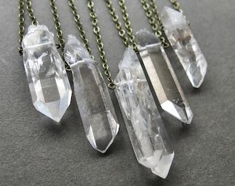 Raw Clear Quartz Necklace - Raw Crystal Necklace - Quartz Jewelry - Unisex Mens Crystal Necklace - Raw Crystal Jewelry - Gemstone Necklace