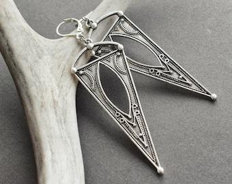 Silver Statement Earrings - Triangle Earrings - Bohemian Jewelry - Festival Jewelry - Boho Earrings - Tribal Earrings - Long Silver Earrings