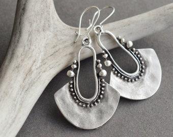 Wave Earrings Geometric Jewelry Fan Earrings Art Deco Earrings Dangle Earrings Sterling Silver Earrings Japanese Wave Tribal Earrings
