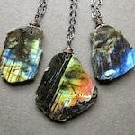 Raw Labradorite Necklace - Raw Gemstone Necklace - Raw Stone Necklace - Large Labradorite Pendant- Labradorite Jewelry- Spectrolite Necklace