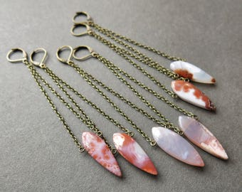 Stone Earrings - Agate Slice Earrings - Pink Agate Earrings - Long Dangle Earrings - Long Boho Earrings - Bohemian Boho Dangle Earrings