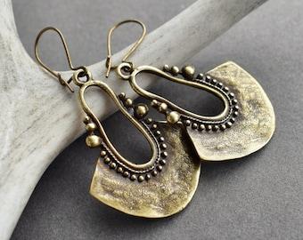 Bronze Fan Earrings - Boho Earrings - Bohemian Jewelry - Brass Statement Earrings - Bronze Tribal Earrings - Festival Jewelry Brass Earrings