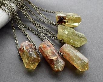 Yellow Apatite Necklace - Raw Gemstone Necklace - Men's Crystal Necklace - Raw Stone Pendant - Solar Plexus Chakra Necklace- Crystal Jewelry
