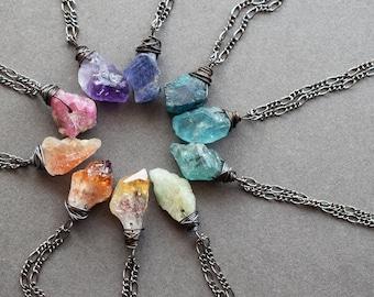 Dainty Raw Gemstone Necklace - Healing Crystal Pendant - Raw Stone Necklace - Raw Crystal Necklace - Raw Crystal Jewelry - Boho Necklace