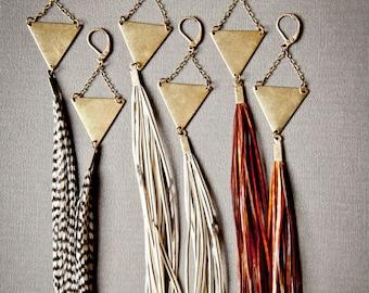 Long Feather Earrings - Feather Tassel Earrings - Boho Earrings - Extra Long Earrings - Witchy Earrings - Bohemian Earrings- Feather Jewelry