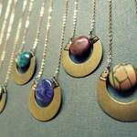 Long Boho Necklace / Crescent Moon Necklace / Boho Crescent Necklace / Tribal Boho Jewelry / Crescent Moon Jewelry / Long Layering Necklace