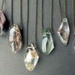 Lodolite Necklace - Quartz Crystal Necklace - Polished Crystal Pendant - Boho Layering Necklace - Garden Quartz - Phantom Quartz Necklace