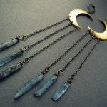 Crescent Moon Earrings - Blue Kyanite Earrings - Raw Crystal Earrings - Moon Jewelry - Witchy Earrings - Raw Crystal Jewelry - Witch Jewelry