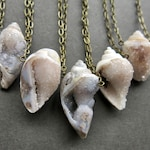 Druzy Necklace - Fossil Shell Necklace - Crystal Seashell Necklace - Raw Crystal Necklace - Raw Crystal Jewelry - Fossil Crystal Pendant