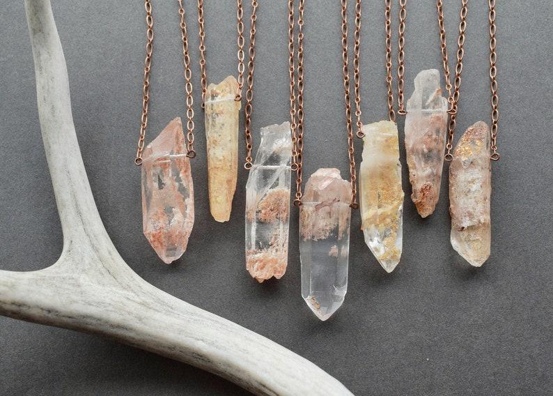 Garden Quartz Jewelry Phantom Quartz Necklace Dream Quartz Pendant Pink Crystal Pendant Raw Crystal Necklace Peach Lodolite Necklace