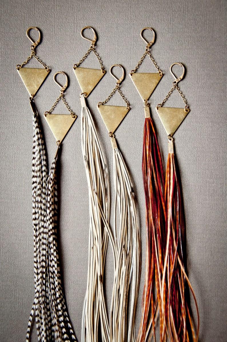 Long Feather Earrings  Statement Earrings  Boho Earrings  image 0
