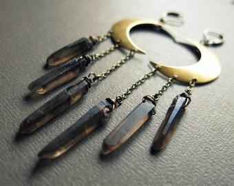 Crystal Moon Earrings - Raw Crystal Earrings - Crescent Moon Jewelry - Smoky Quartz Earrings- Celestial Jewelry Crystal Jewelry Moon Goddess