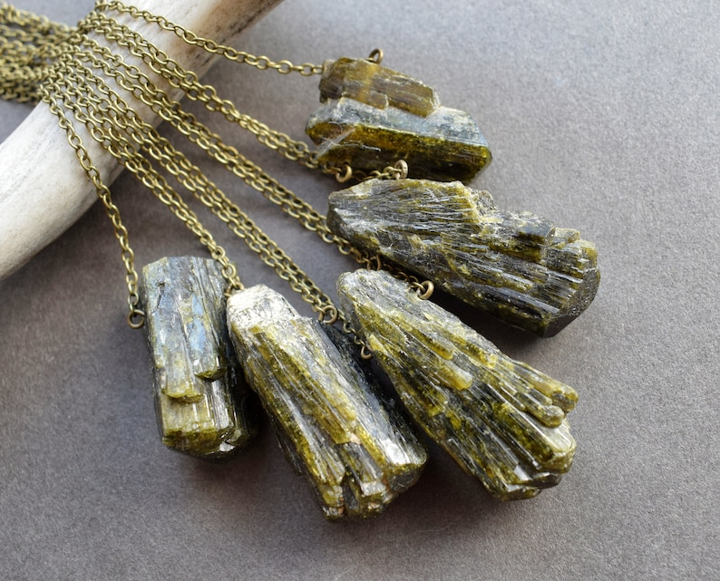 Epidote Necklace  Raw Stone Necklace  Green Crystal Necklace image 0