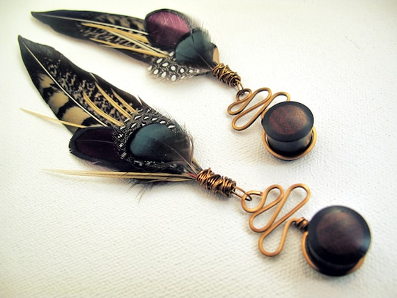 716 916 Pink Gold Dipped Feather Dangle Plug Gauges  4g 00g 34 58 12 2g 0g