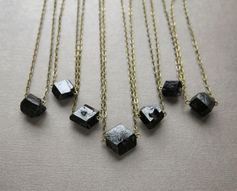 Raw Black Tourmaline Necklace  Crystal Choker  Raw Stone image 0