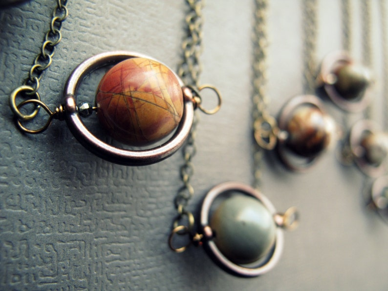 Planet Necklace  Solar System Necklace  Outer Space Jewelry image 0