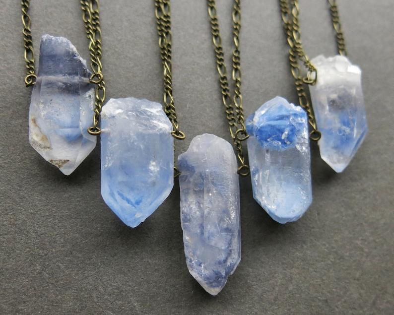 Dumortierite Quartz Necklace  Rare Crystal Necklace  Blue image 0