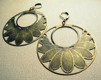 Tribal Brass Earrings - Mandala Earrings - Boho Hoop Earrings - Boho Earrings - Tribal Earrings - Lotus Earrings - Brass Hoop Earrings PAIR