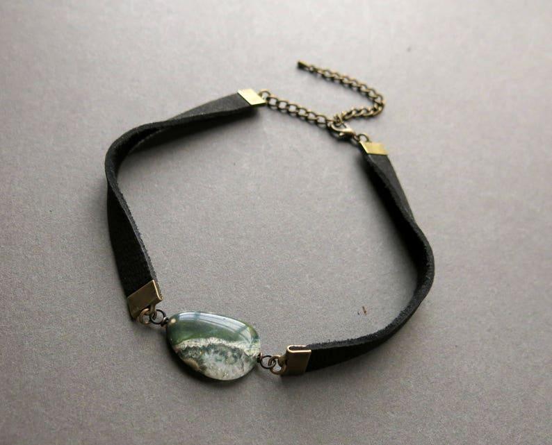 Leather Choker Necklace  Raw Crystal Choker  Boho Choker  image 0
