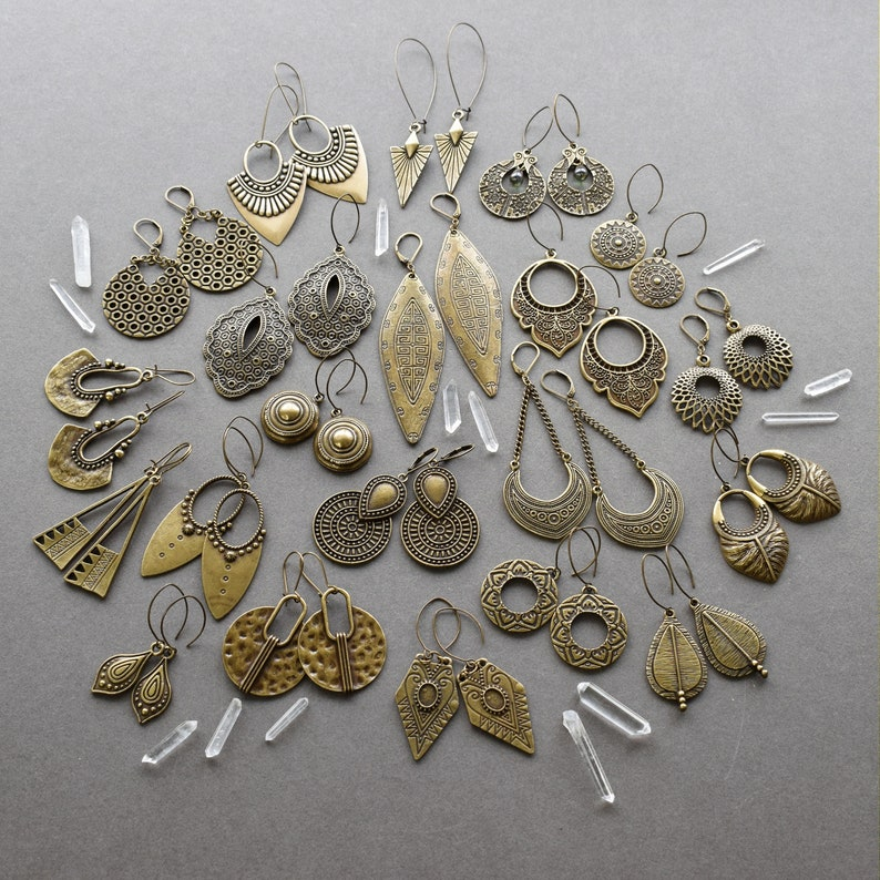 Bohemian Brass Earrings Bronze Hoop Earrings Festival Jewelry Boho Earrings Lotus Earrings Brass Hoops Lotus Flower Earrings