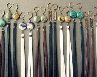 Long Leather Earrings - Boho Earrings - Long Tassel Earrings - Leather Fringe Earrings - Long Dangle Earrings - Boho Leather Jewelry