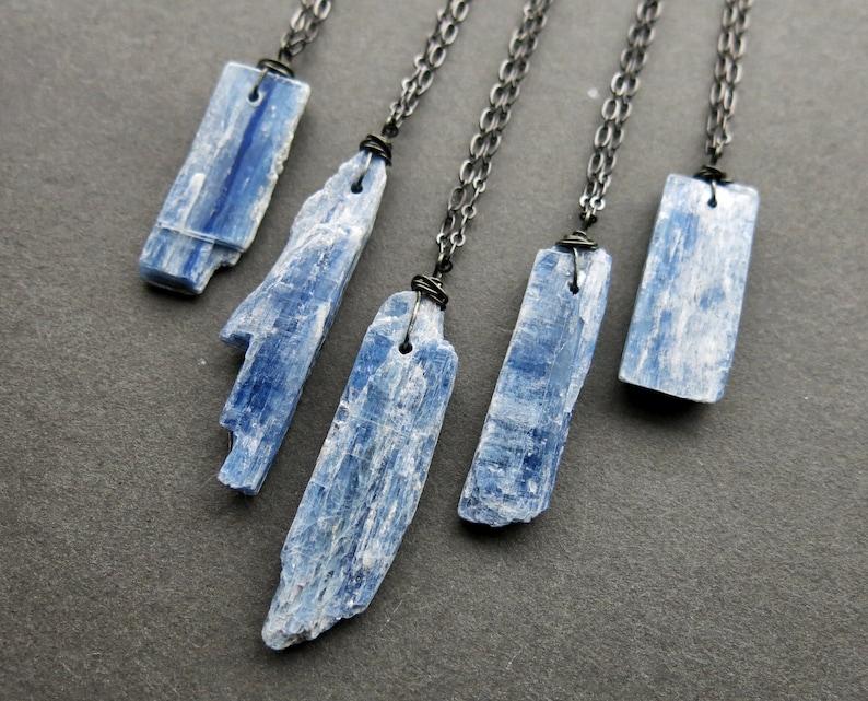 Raw Blue Kyanite Necklace  Raw Kyanite Jewelry  Blue Crystal image 0