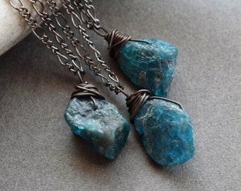 Mini Raw Apatite Necklace - Blue Crystal Necklace - Boho Mini Gemstone Pendant - Raw Stone Necklace - Reiki Talisman Throat Chakra Necklace