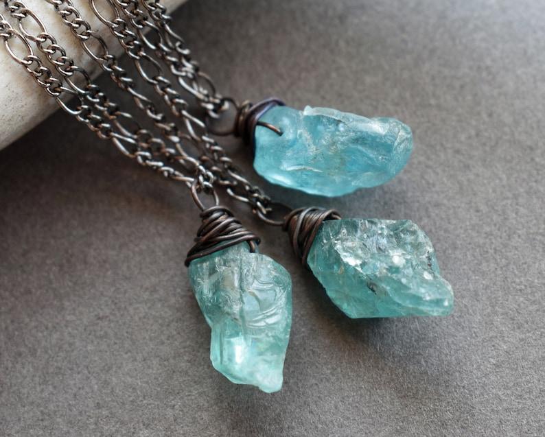 Raw Apatite Necklace  Mini Gemstone Necklace  Raw Stone image 0