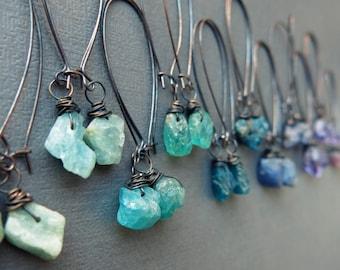 Raw Gemstone Earrings - Bohemian Dangle Earrings - Raw Crystal Earrings - Boho Crystal Jewelry - Raw Stone Earrings - Pagan Witchy Earrings