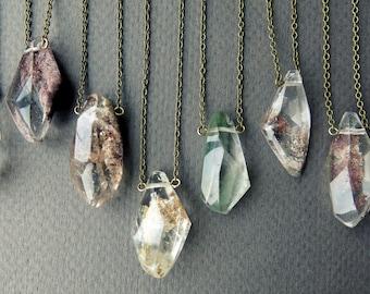 Garden Quartz Necklace - Lodolite Necklace - Scenic Quartz Crystal Necklace - Phantom Quartz Pendant - Clear Quartz Necklace with Inclusions