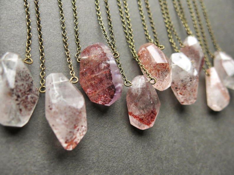 Strawberry Quartz Necklace  Heart Chakra Necklace  Boho image 0