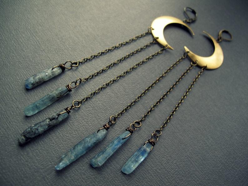 Crescent Moon Earrings  Blue Kyanite Earrings  Raw Crystal image 0