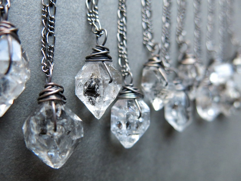 Raw Crystal Necklace  Raw Herkimer Diamond Necklace  Crystal image 0
