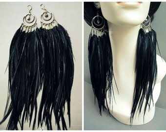 Black Feather Earrings: Long Feather Earrings Hoop Earrings Large Full Thick Post Apocalyptic Victorian Steampunk Tribal Statement Jewelry
