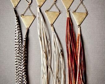 Long Feather Earrings - Statement Earrings - Boho Earrings - Boho Jewelry - Extra Long Earrings - Tribal Earrings - Bohemian Earrings