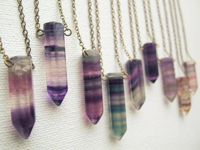Rainbow Fluorite Necklace  Bohemian Gemstone Necklace  Boho image 0